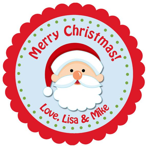 santa christmas sticker christmas gift tag by thebutterflypress