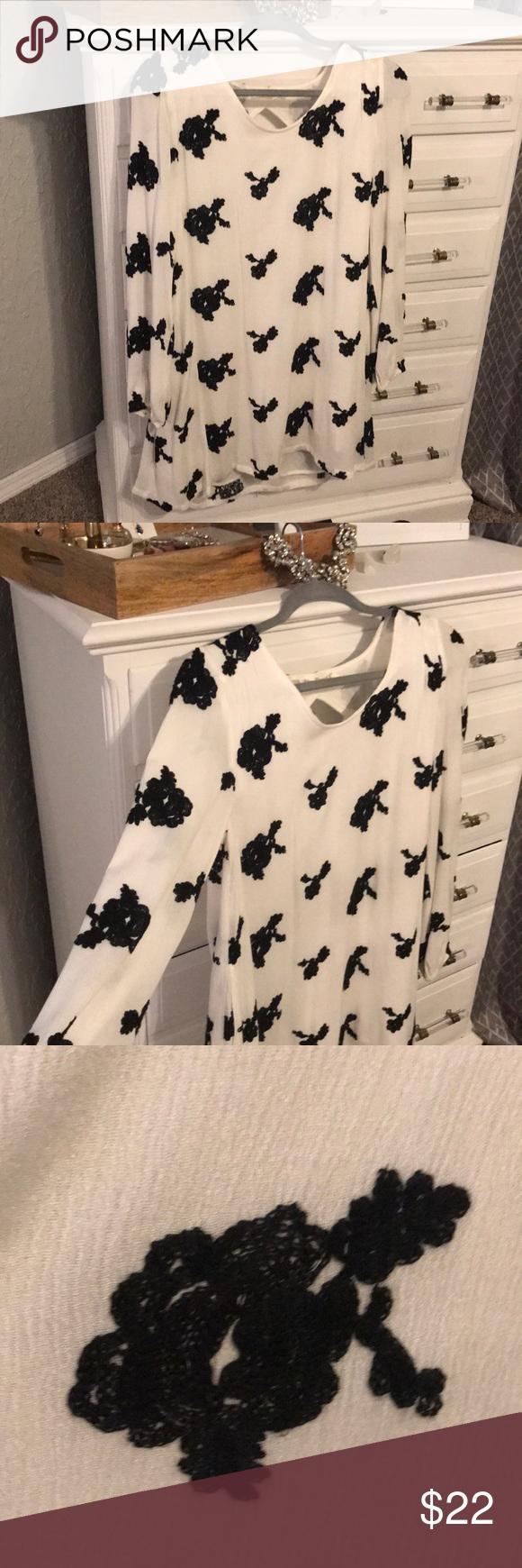 White u black embroidered floral dress my posh picks pinterest
