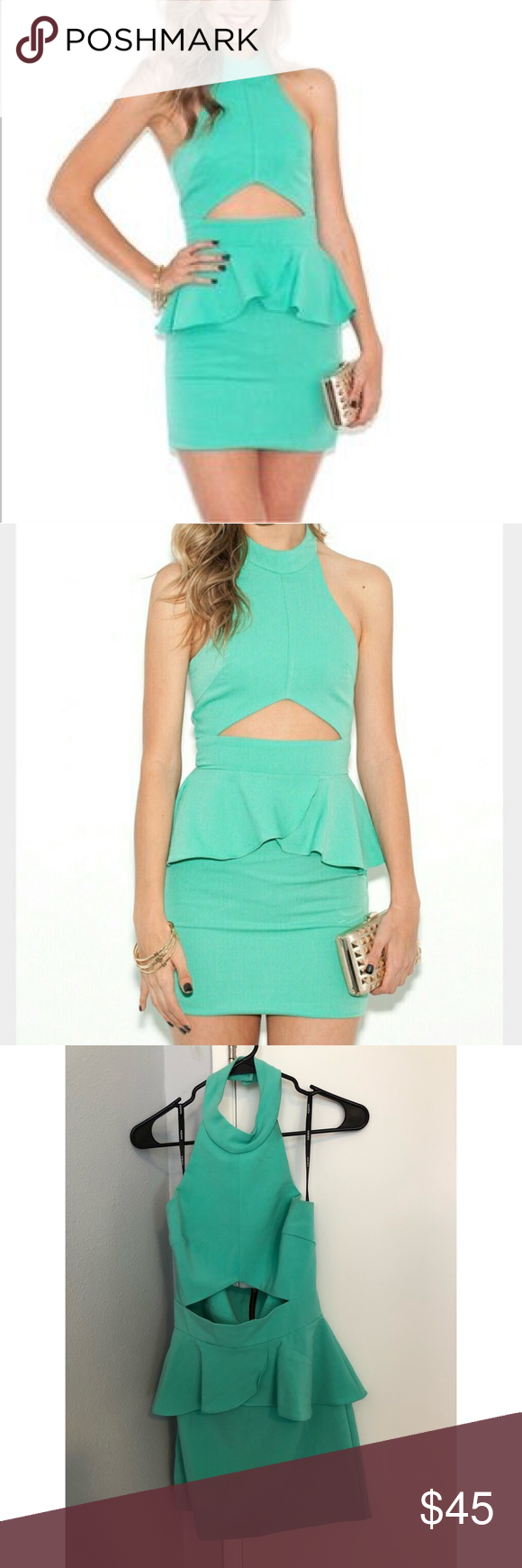 Naven Peplum Cut Out Dress | Mint green dress, Mint green and Detail