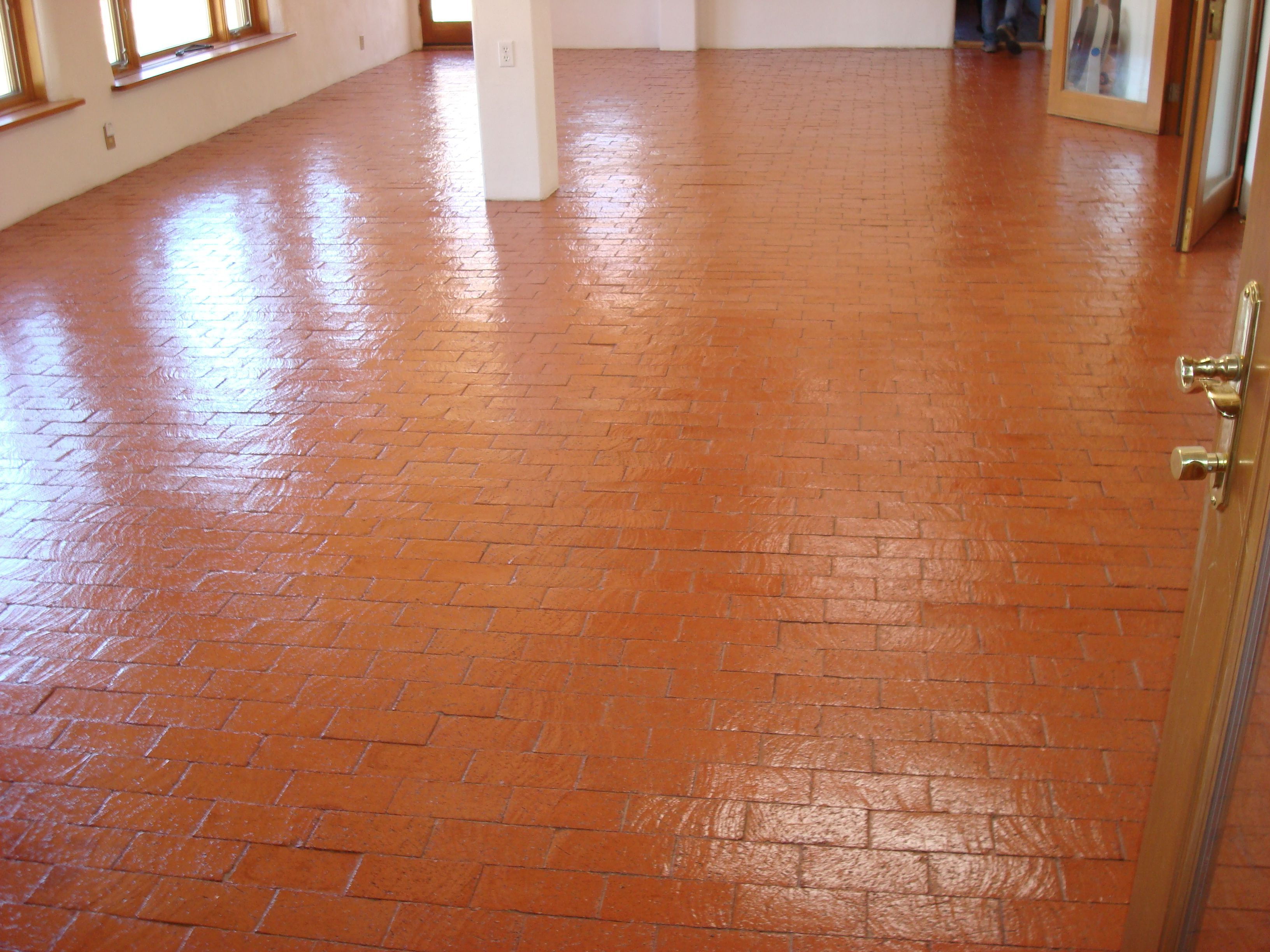 Brick Floors In The House Shiny Cleaned And Sealed Brick Floors Mofab Brick Flooring Brick Kitchen How To Clean Brick