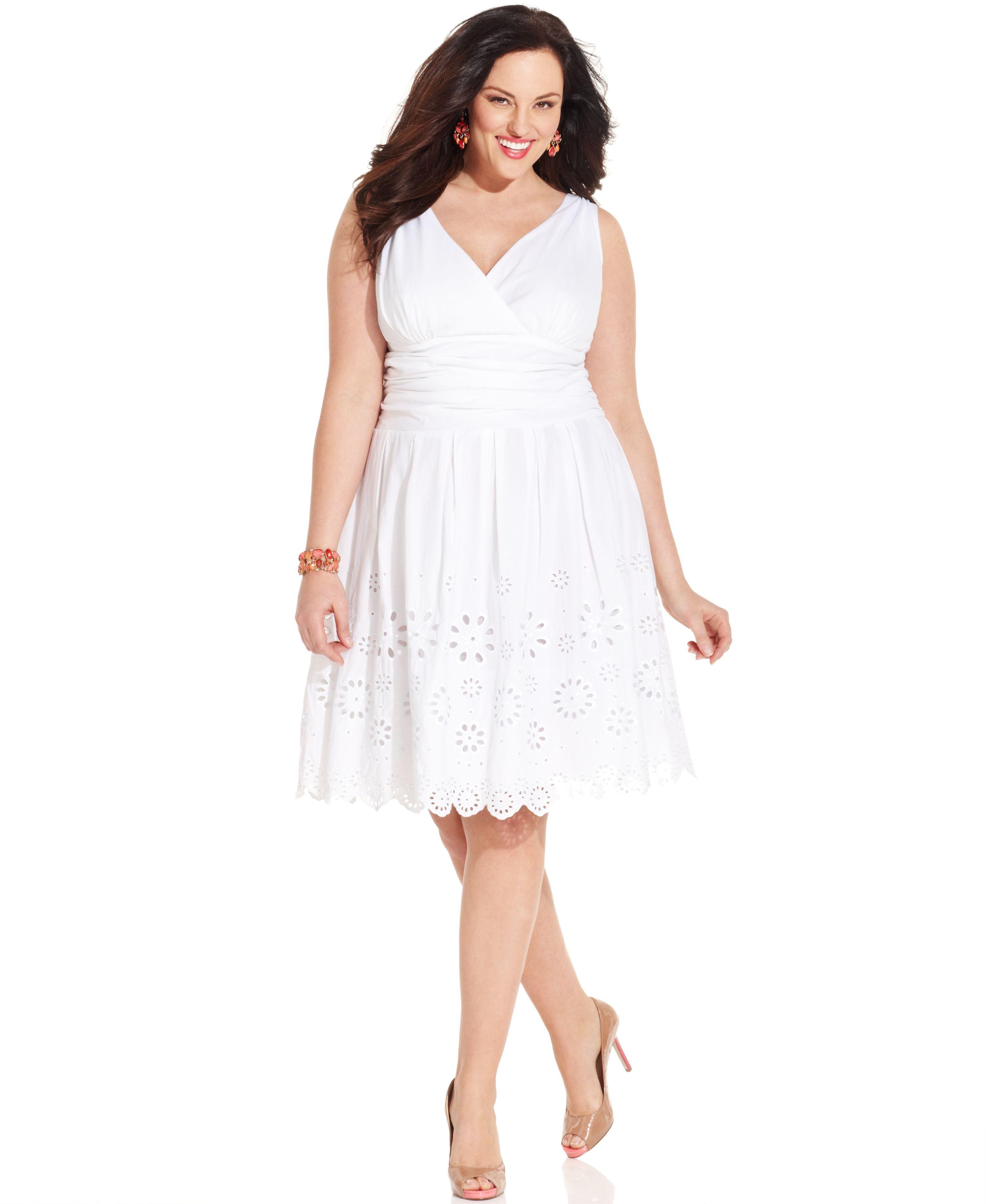 Sl Fashions Plus Size Dress, Sleeveless Ruched Eyelet