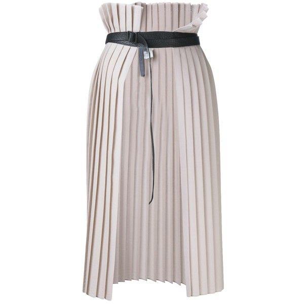 TODD LYNN wrap around skirt ($320) ❤ liked on Polyvore featuring skirts, knee length pleated skirt, wraparound skirt, beige skirt, wrap around skirt and todd lynn