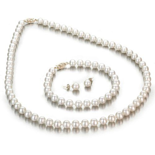 White Freshwater Cultured Pearl 3-Piece Set, 14k Yellow Gold Fishhook Clasp, 6-7mm AA+ Quality Pearls, 18 Inch Necklace, 7... $149.00