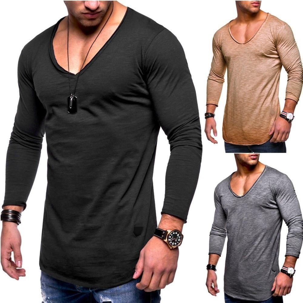 European And American Fashion Long Sleeved T Shirt With Images Mens Tshirts Casual Shirts