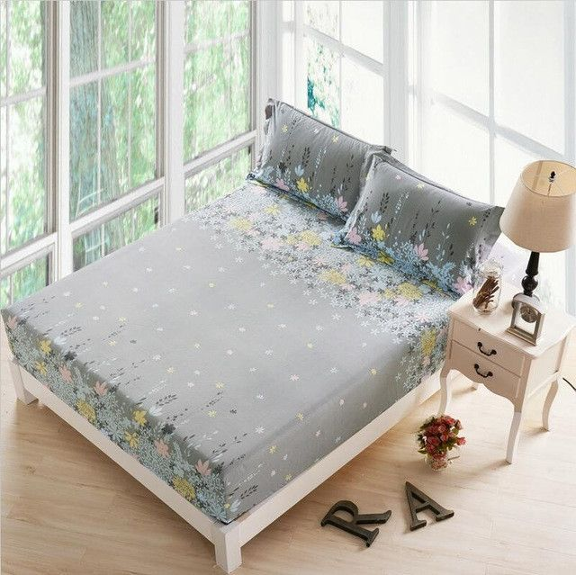 3 Pieces Polyester Solid Color Bed Sheet Set Queen Size Fitted Bed Sheet