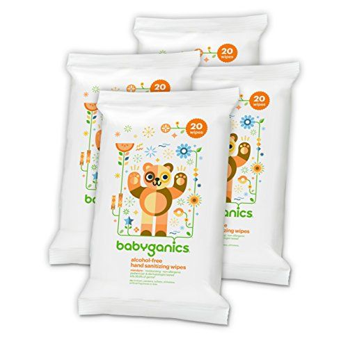Alcohol Free Hand Sanitizing Wipes Mandarin Coconut Oil For