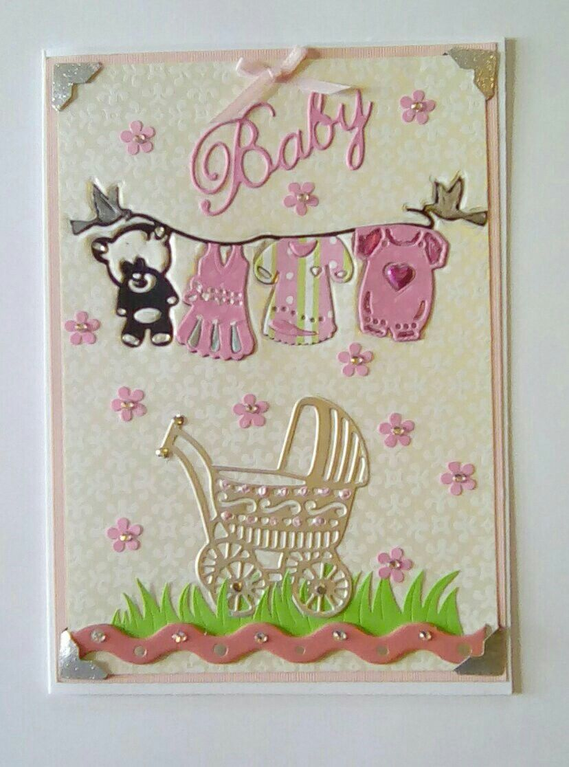 Pretty Baby Card Using Amy Design Clothes Line And Baby Carriage Taufe Geburt