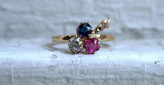 Victorian Leafy Antique Pink and Blue Sapphire and by GoldAdore