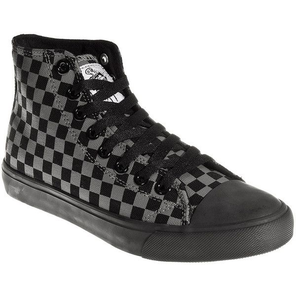 13ee4964627201 Bleeding Heart Checkerboard Hi Tops (Black Grey) ( 15) ❤ liked on Polyvore  featuring shoes
