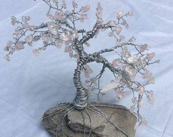 Draht Baum Art, Baum aus Draht, Draht Baum mit rosa Perlen | Schmuck ...