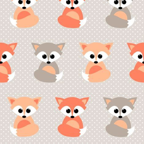 Baby Crib Sheet / Nursery Toddler Bedding - Little Fox Print Contemporary  Premium Designer Fabric in Coral Peach and Grey - Baby Crib Sheet / Nursery Toddler Bedding - Little Fox Print