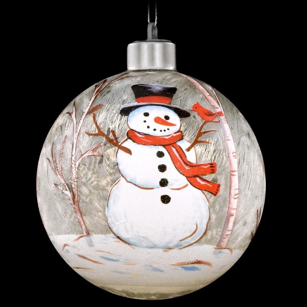 Snowman 4 Inch Led Lit Glass Ornament 14 99 Christmas Ornaments Homemade Christmas Ornament Crafts Painted Christmas Ornaments