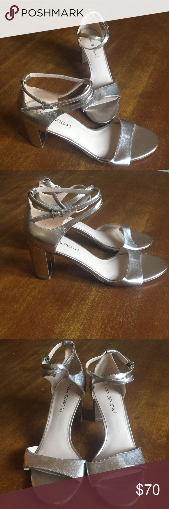 380d13a3c5f Via Spiga Wendi Metallic rose gold leather. Criss cross ankle strap. Block  heel sandals. Brand new  never worn! One tiny imperfection at right toe