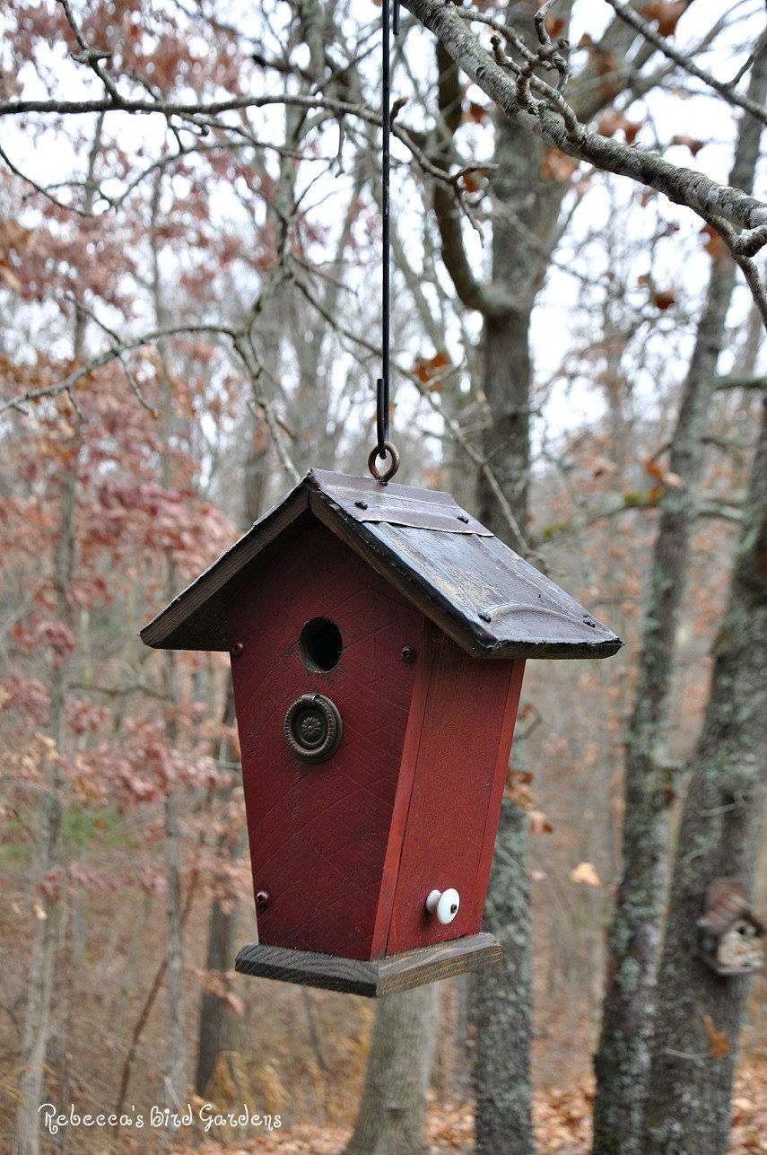 Rustic Hanging Birdhouse Quot The Villa Quot By Rebeccasbirdgardens On Etsy Unique Bird Houses
