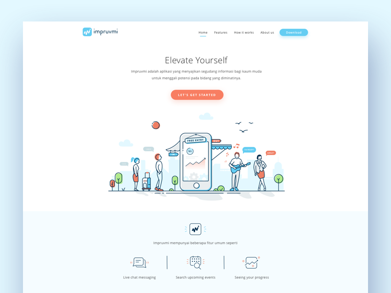 Impruvmi landing page popular dribbble shots pinterest mobile ui impruvmi landing page by yogie ismanda design popular dribbble shots malvernweather Choice Image