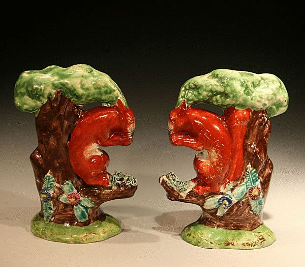 Antique Staffordshire Pottery Figures Of Squirrells C1820 Pottery English Pottery Staffordshire Dog
