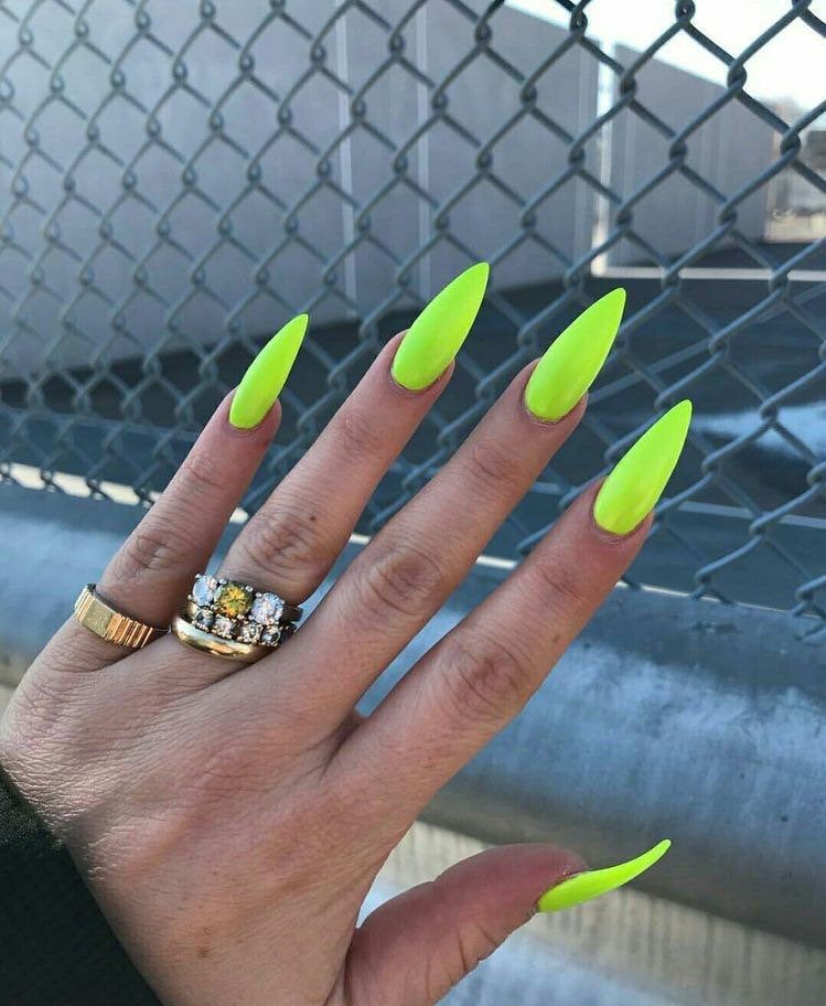 Neon Green Stiletto False Nail Set  Press On Nails  False | Etsy