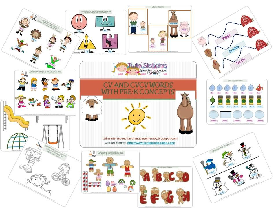 Updated CV anc CVCV words with Pre-K concepts packet Twin Sisters - cv words