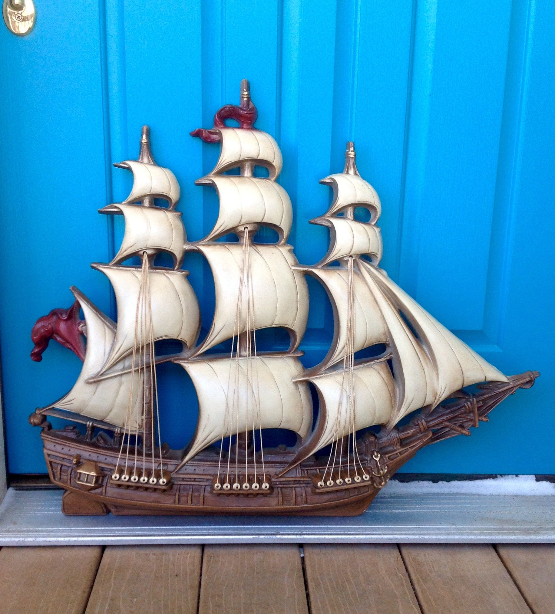 Vintage X Large Burwood Clipper Ship Wall Decor Pirate Ship Wall