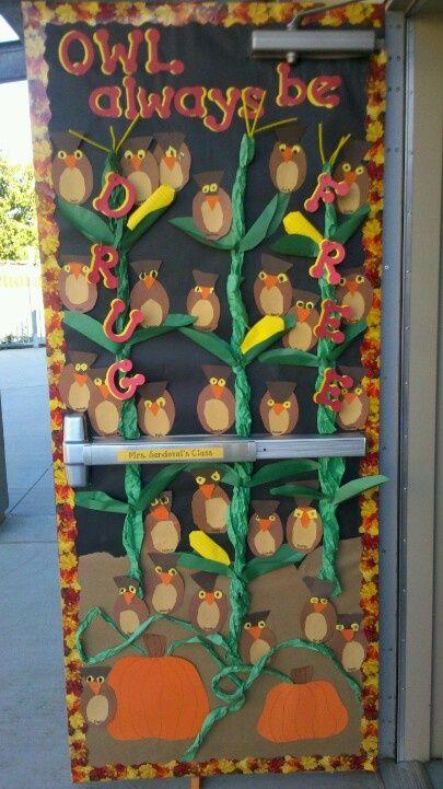 Printable Halloween Classroom Decorations ~ Owl always be drug free red ribbon week doors