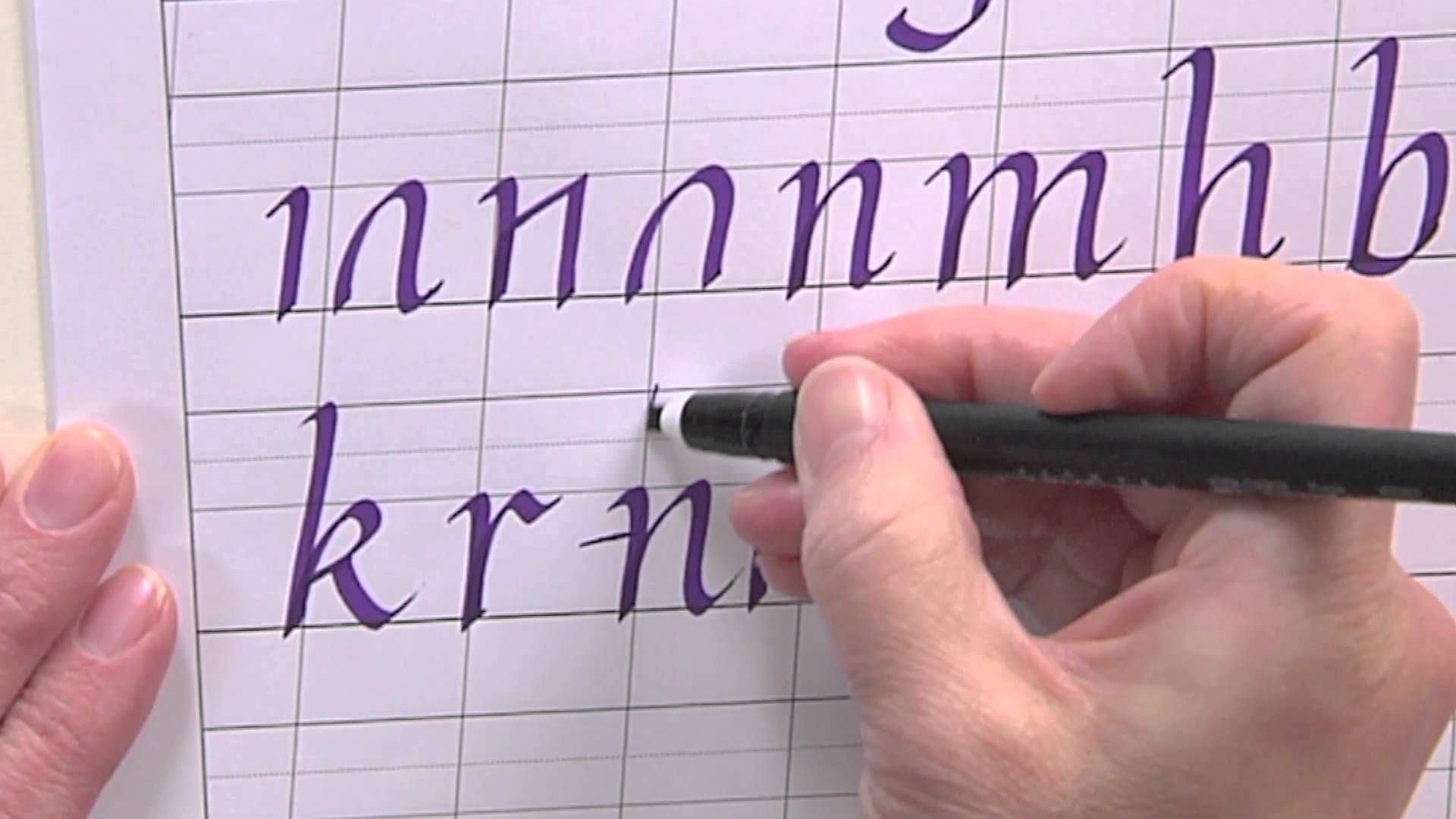 How to write a lower case italic alphabet calligraphy