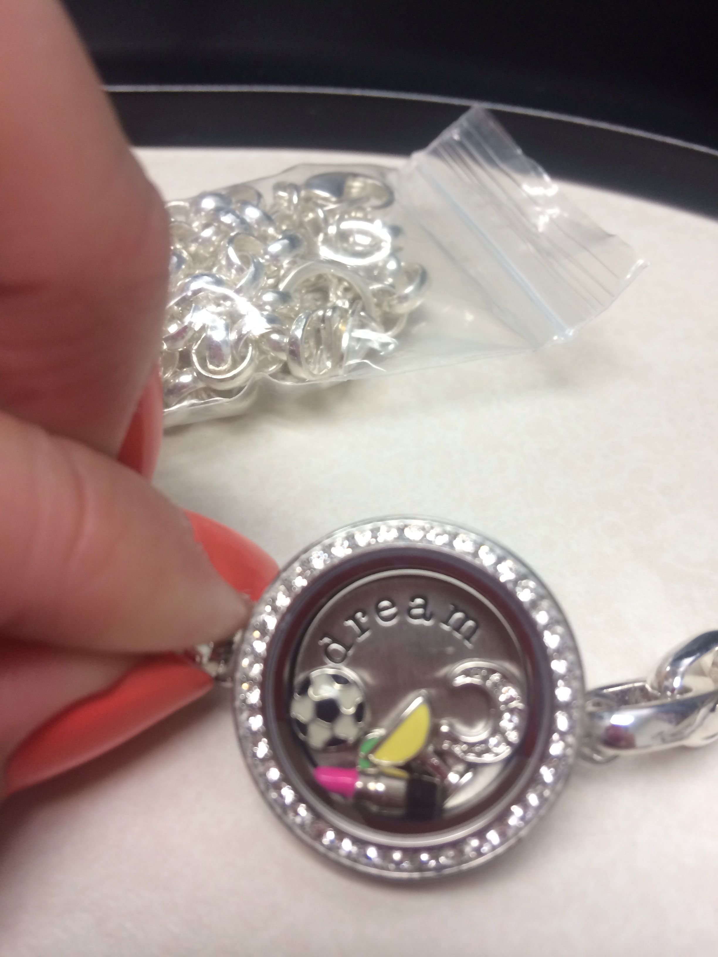 Silver origami owl bracelet