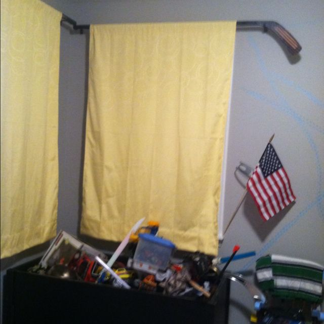 Hockey Sticks For Curtain Rods In Son S Bedroom Boys Bedrooms Hockey Bedroom Son Bedroom
