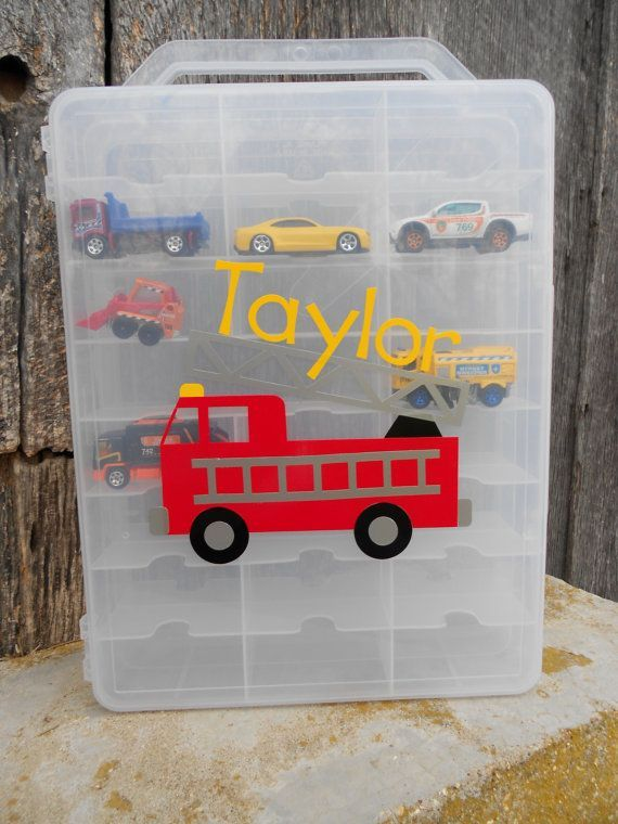 Customized cricut vinyl design for childs toy car storage container