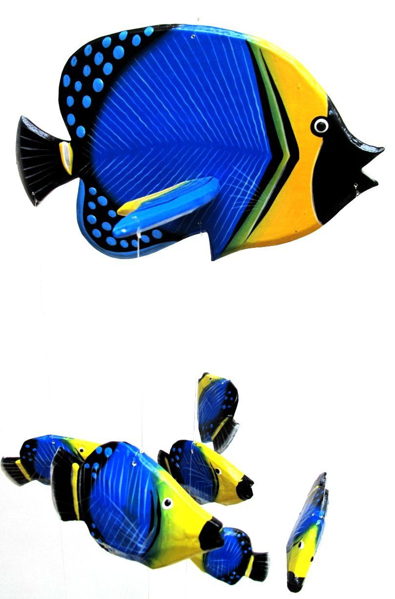 Childrens blue black yellow tropical fish mobile with