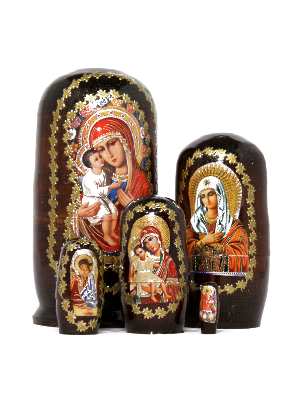 Russian saint icons matryoshka set with five nesting dolls