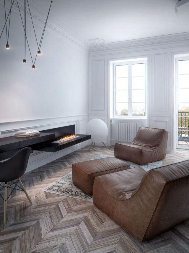 wohnzimmer-minimalistisch-parkettboden-fischgradmuster-bio-ethanol - wohnzimmer kamin ethanol