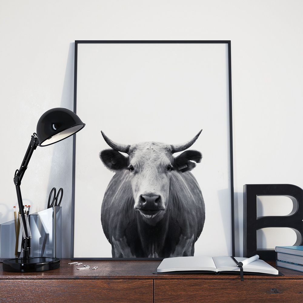 FREE Minimal Cow Printable. Southern Charm With A Modern Twist. Black And  White Cow. Kitchen WallpaperCow ...