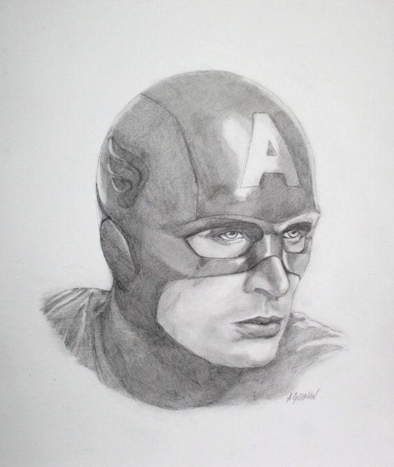 капитан америка арты простым карандашом вариант полотно