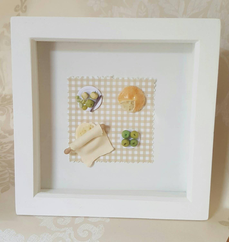 Miniature food frame, apple pie shadow box, kitchen wall art ...