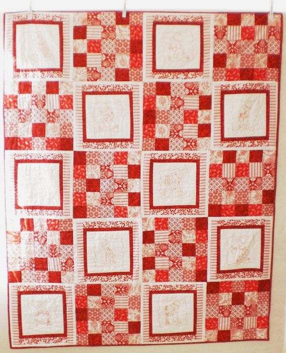 Red and White Sunbonnet Sue handmade quilt with 10 by StephsQuilts