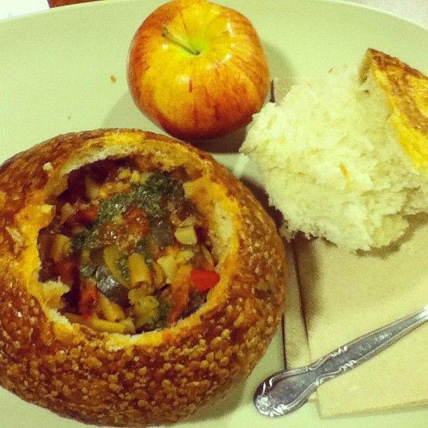 Panera Bread Low Fat Garden Vegetable Soup W O Pesto Sourdough Bread Bowl Is Vegan As Well