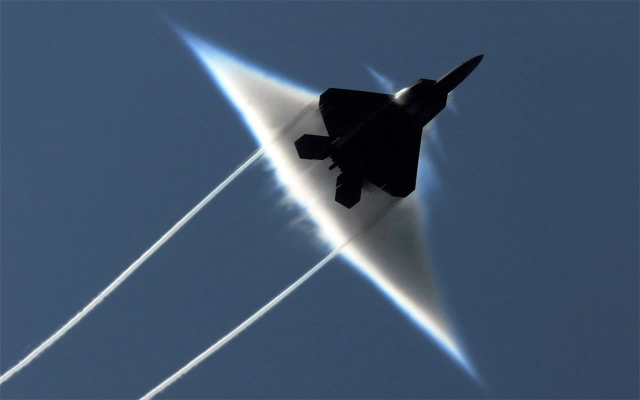 F-22 Raptor going supersonic.