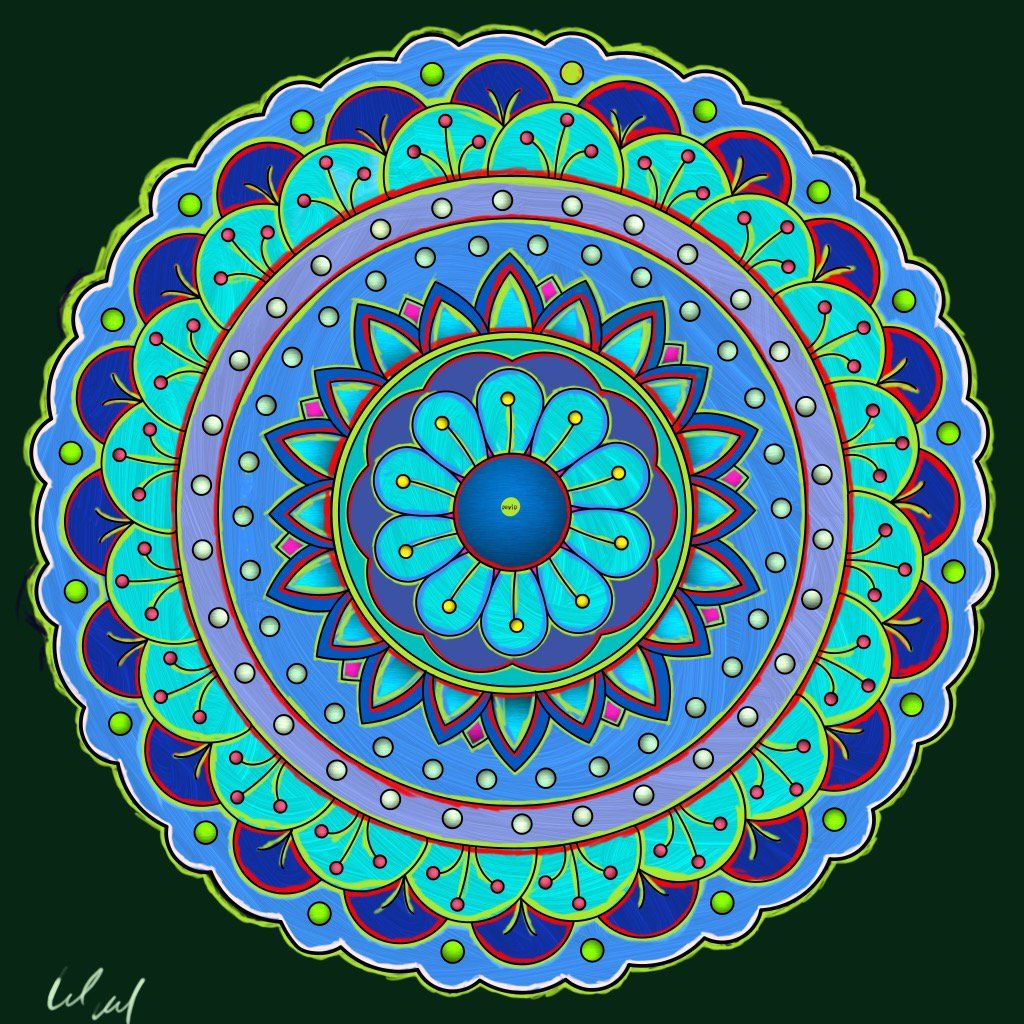 We Love Seeing How You Color Pigment Pages Check Out This Mandala Colored By David Eberhart From Our Mandalas Xiv Book Have You Tried The Pigment Aquarela