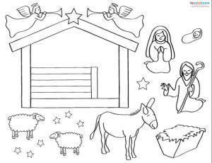Printable Nativity Scenes Lovetoknow Nativity Scene Crafts Nativity Scene Printable Christmas Coloring Pages