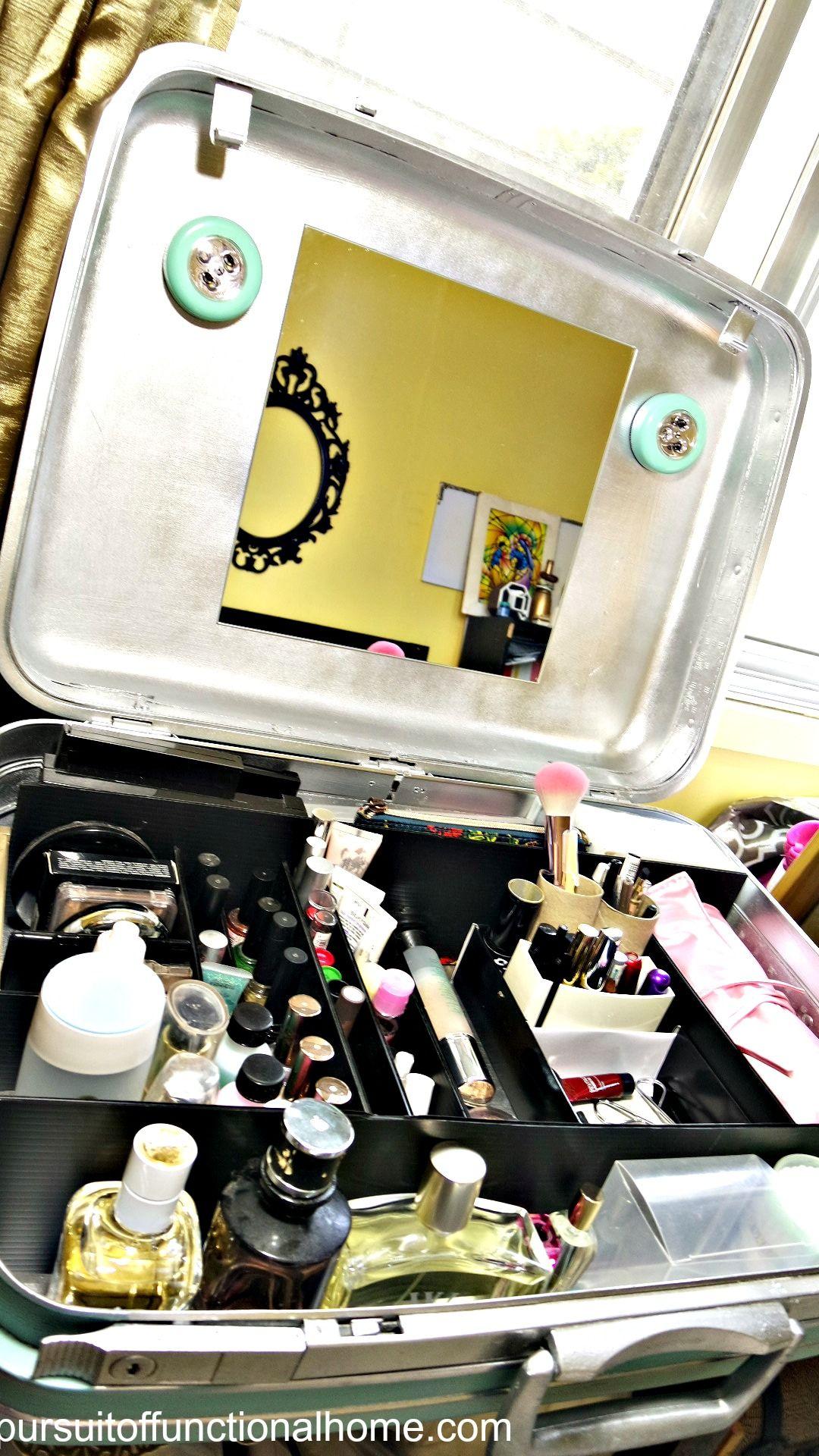How to turn old suitcase, vintage samsonite suit case, vintage suitcase repurpose, how to repurpose old suitcase, red samsonite suit case , how to organize makeup