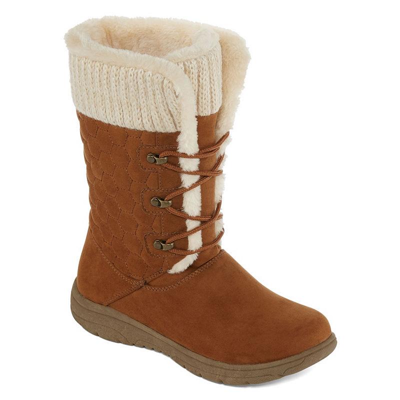 ad7de5a4a1548 Liz Claiborne Womens Clinton Winter Boots Flat Heel Lace-up ...