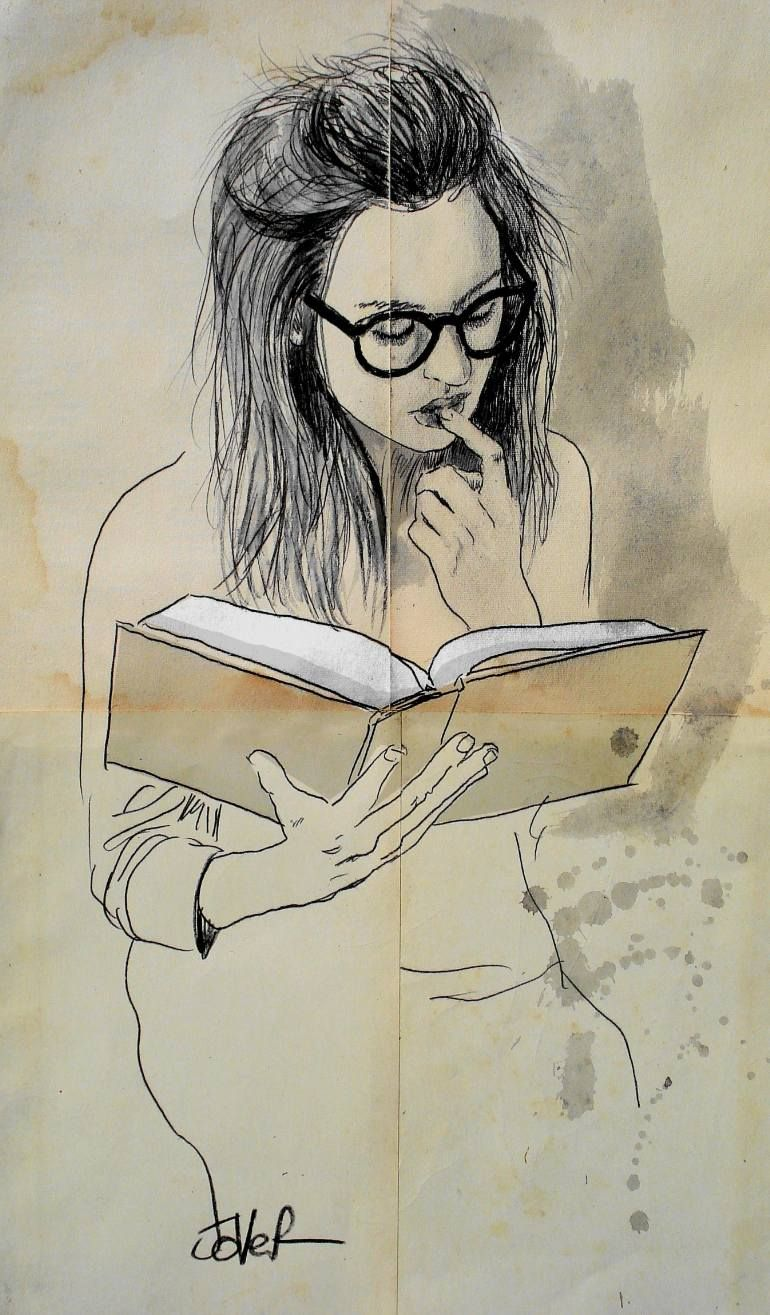 """Book"" by Loui Jover, seated female wearing eyeglasses, gouache pen and ink on vintage paper drawing."
