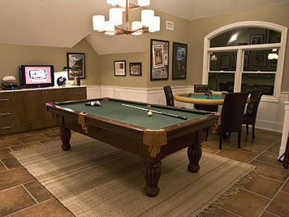 Exciting Man Caves Decoration Brown Ceramic Floor Round Poker Table Wooden  Tv Stand Cabinet Rectangle Pool Table Rustic Chenille Rug Man Cave Room ...