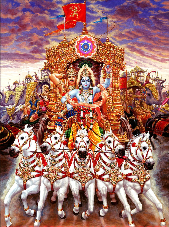 Indian Art Mahabharat Lord Krishna Driving Chariot Of Arjun Art Prints Krishna Art Lord Krishna Images Krishna Wallpaper