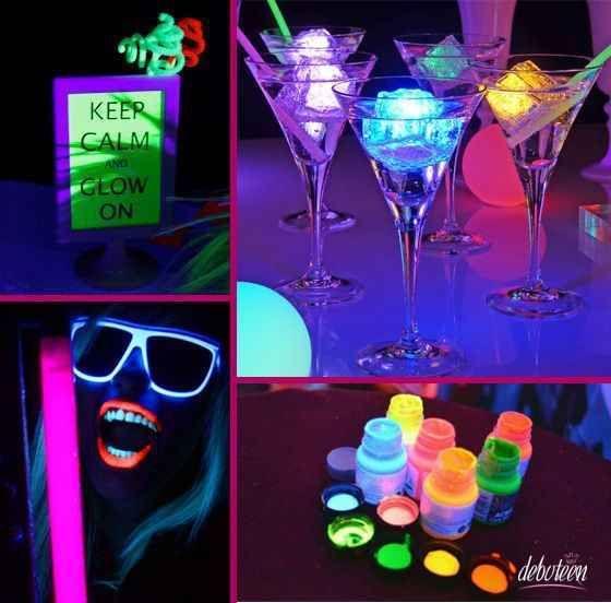 Decoracion de 15 a os en neon 3 fiesta pinterest for Decoracion 30 cumpleanos