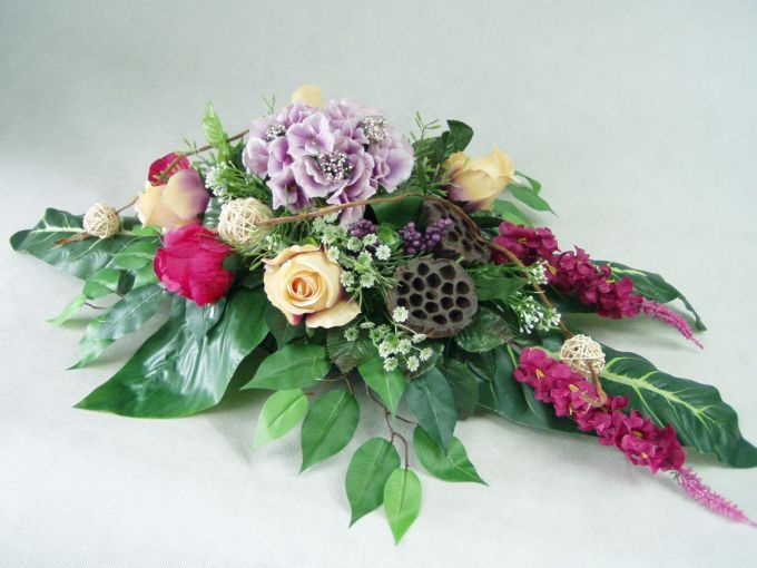 Hortensja Fiolet Ostrozka Roze 1063 5 Stroik Na Grob Funeral Floral Flower Arrangements Floral Arrangements