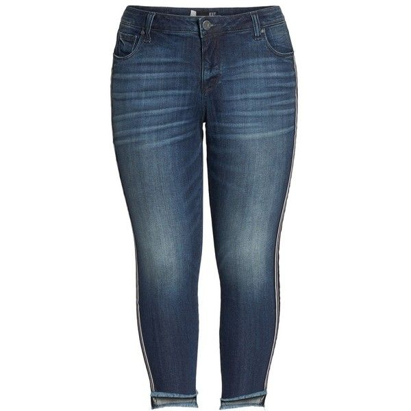 3b1a22d031326 Plus Size Women s Kut From The Kloth Reese Side Stripe Uneven Ankle...  ( 98) ❤ liked on Polyvore featuring jeans