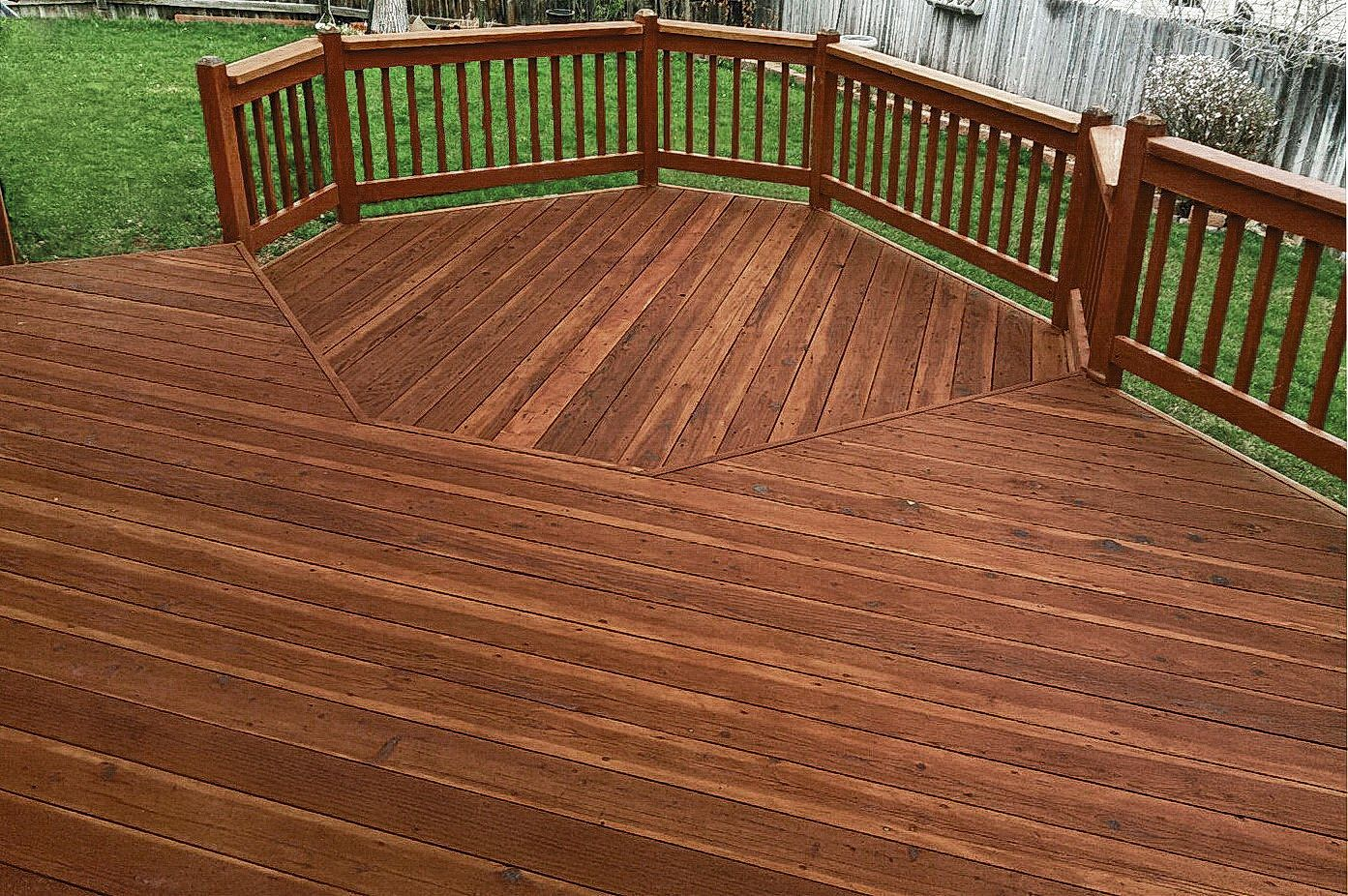 Rustic Color Stained Deck This Deck Was Fully Stripped Down And Warmer Darker Stain Was Used To Bring Out It S Natural Beauty Rustic Deck Staining Deck Deck