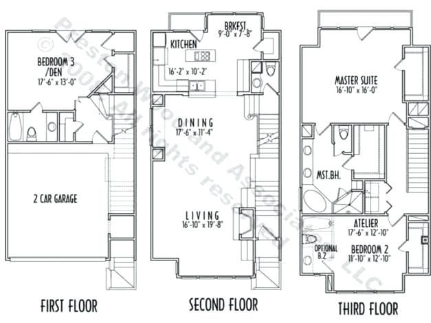 3 Story Narrow House Plans Outstanding Level House Plans Storey Design Story Narrow Lot With Elevator Hous Narrow House Plans Two Story House Plans House Plans