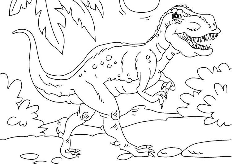 Dino Rex Malvorlage - Kinder zeichnen und ausmalen